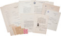 Autographs:Statesmen, [Herbert Hoover] Archive of Herbert Hoover Administration CabinetCorrespondence, Circa 1929-1932.... (Total: 9 Items)