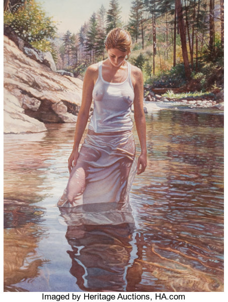 Paintings, STEVE HANKS (American, b. 1949). Cool Water. Watercolor on board. 23.5 x 17.5 in.. Signed lower right. ... (Total: 2 Items)