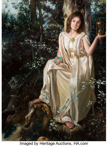 DAVID M. BOWERS (American, 20th Century) Slipping Away Oil on panel 11 x 8 in. Signed lower left ... (Total: 2 Items)