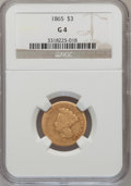 Three Dollar Gold Pieces: , 1865 $3 Good 4 NGC. NGC Census: (1/61). PCGS Population (0/69). Mintage: 1,140. Numismedia Wsl. Price for problem free NGC/...