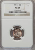 Barber Dimes: , 1915 10C MS64 NGC. NGC Census: (92/47). PCGS Population (109/55). Mintage: 5,620,450. Numismedia Wsl. Price for problem fre...