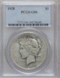 Peace Dollars: , 1928 $1 Good 4 PCGS. PCGS Population (3/7335). NGC Census:(0/4990). Mintage: 360,649. Numismedia Wsl. Price for problem fr...