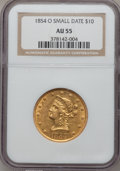 Liberty Eagles: , 1854-O $10 Small Date AU55 NGC. NGC Census: (70/44). PCGSPopulation (11/8). Mintage: 52,500. Numismedia Wsl. Price forpro...