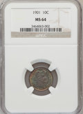 Barber Dimes: , 1901 10C MS64 NGC. NGC Census: (76/37). PCGS Population (83/47). Mintage: 18,860,478. Numismedia Wsl. Price for problem fre...