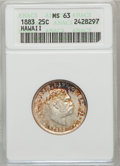 Coins of Hawaii: , 1883 25C Hawaii Quarter MS63 ANACS. NGC Census: (161/438). PCGSPopulation (272/570). Mintage: 500,000. (#10987)...