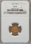 Liberty Quarter Eagles: , 1867-S $2 1/2 XF45 NGC. NGC Census: (30/91). PCGS Population(25/39). Mintage: 28,000. Numismedia Wsl. Price for problem fr...