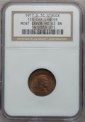 Errors, 1917-D 1C Lincoln Cent -- Struck 15% Off Center -- MS63 Brown NGC....