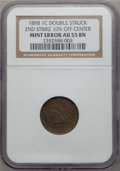 Errors, 1898 1C Indian Cent -- Double Struck, 2nd Strike 10% Off Center -- AU55 NGC.. From The Elbesaar Collection....