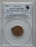 Errors, 1898 1C Indian Cent -- Double Struck, 2nd Strike 95% Off Center -- MS64 Brown PCGS. Eagle Eye Photo Seal. . From The ...