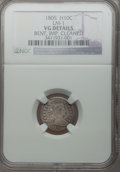 Early Half Dimes, 1805 H10C -- Bent, Improperly Cleaned -- NGC Details. VG. LM-1. NGCCensus: (0/20). PCGS Population (4/45). Mintage: 15...