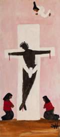 Texas:Early Texas Art - Modernists, CLEMENTINE HUNTER (American, 1886-1988). Black Christ. Oilon board. 24 x 10-1/4 inches (61.0 x 26.0 cm). Initialed lowe...