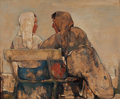Paintings, WILLEM VAN DEN BERG (Dutch, 1886-1970). Gossips on Bench, circa 1960s. Oil on board. 11 x 13 inches (27.9 x 33.0 cm). Si...