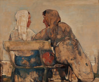 WILLEM VAN DEN BERG (Dutch, 1886-1970) Gossips on Bench, circa 1960s Oil on board 11 x 13 inches