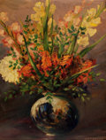 American:Still Life, LEON LOUIS DOLICE (American, 1892-1960). Mixed Bouquet withGladiolas in a Ceramic Vase, circa 1940s. Oil on masonite pa...