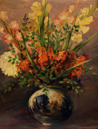 LEON LOUIS DOLICE (American, 1892-1960) Mixed Bouquet with Gladiolas in a Ceramic Vase, circa 1940s