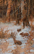 American:Impressionism, WILLIAM SCHMEDTGEN (American, 20th Century). Rabbits in theSnow, circa 1930s. Mixed media on artist's board. 29 x 19 in...