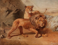 P. T. TAX (Danish, 20th Century) Two Lions Oil on canvas 16 x 20 inches (40.6 x 50.8 cm) Signe