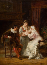 CHARLES FRANÇOIS PÉCRUS (French, 1826-1907) Family Oil on panel 14-1/4 x 11-1/4 inches (36.2 x 2
