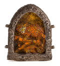Asian:Other, HIMALAYAN CARVED AMBER AND SILVER PENDANT . 5-3/4 inches high (14.6cm). ...