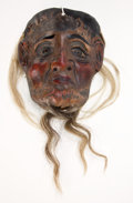 Asian:Other, GUATEMALAN POLYCHROME WOOD DANCE MASK . 8-1/4 inches high (21.0 cm)(excluding hair). ...