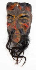 Asian:Other, GUATEMALAN POLYCHROME WOOD DANCE MASK . 10-3/4 inches high (27.3cm) (excluding hair). ...