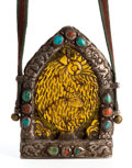Asian:Other, HIMALAYAN CARVED AMBER AND SILVER PENDANT SET WITH TURQUOISE AND CARNELIAN . 5-3/4 inches high (14.6 cm). ...