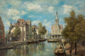 Fine Art - Painting, American:Modern  (1900 1949)  , THE PROPERTY OF A SOUTH TEXAS ESTATE. J.C. FRISCH (German, 19thCentury). Strolling on the Canal. Oil on canvas. 20 x ...