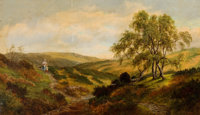 HENRY W. HENLEY (British, 1831-1931) Taking Daddy's Dinner - View on Cannock Chase, circa 1880 Oil o