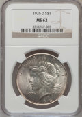 Peace Dollars: , 1926-D $1 MS62 NGC. NGC Census: (307/2155). PCGS Population(680/3478). Mintage: 2,348,700. Numismedia Wsl. Price for probl...