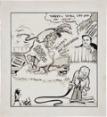 "Political:Miscellaneous Political, [Harry S. Truman] Original Civil Rights Themed Political Cartoon""Harry - Yo'All Lay Off My Mule!""...."