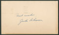 Baseball Collectibles:Others, 1956 Jackie Robinson Signed Government Postcard. ...