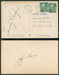 Baseball Collectibles:Others, Yogi Berra and Sandy Koufax Signed Postcards Lot of 2....
