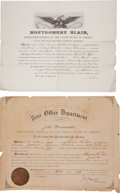 Autographs:Statesmen, Postmasters General: Montgomery Blair Document Signed.... (Total: 2Items)