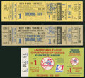 Baseball Collectibles:Tickets, 1974-77 New York Yankees Tickets Lot of 3....