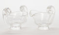 Glass, STEUBEN GLASS CREAMER & SUGAR BOWL . 20th century. Etched to base: Steuben. 3-5/8 inches high (9.2 cm) (each). ... (Total: 2 Items)