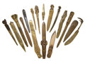 GROUP OF SEVENTEEN ART NOUVEAU AND ART DECO LETTER OPENERS IN VARIOUS METALS Circa 1900 11-1/4 inches long (28