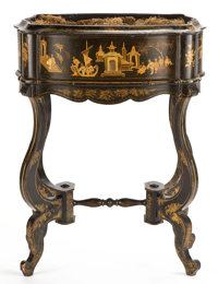 From the Estate of Henry Hathaway, Film Director, Beverly Hills, California  EBONIZED WOOD JARDINIÈRE WITH C