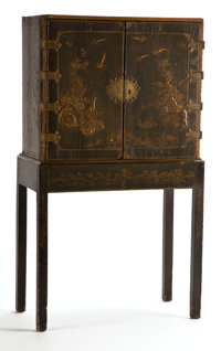 A CHINESE EXPORT LACQUERED CABINET ON STAND 19th century 51 x 27-1/4 x 15-1/2 inches (129.5 x 69.2 x 39.4 cm)<