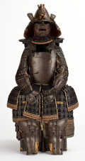 Paintings, EDO PERIOD SAMURAI SUIT OF ARMOR WITH LACQUER ARMOR CHEST . Japan, 18th century. 49 inches high (124.5 cm). ... (Total: 5 Items)