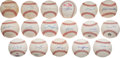 Baseball Collectibles:Balls, 500 Home Run Club Single Signed Baseballs Lot of 17. ...