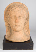 Antiquities:Greek, Antiquities: ETRURIA. Etruscan terracotta votive head of a youth,ca. 3rd century BC....