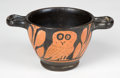 """Antiquities, Antiquities: GREEK SOUTHERN ITALY. Red figure """"owl cup"""" ca. late4th century BC. ..."""