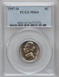 Jefferson Nickels: , 1957-D 5C MS65 PCGS. PCGS Population (242/48). NGC Census:(111/185). Mintage: 136,828,896. Numismedia Wsl. Price for probl...