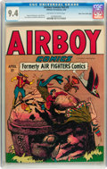 Golden Age (1938-1955):War, Airboy Comics V3#2 Mile High pedigree (Hillman Fall, 1946) CGC NM9.4 Off-white to white pages....