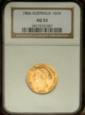 Australia: , Australia: Victoria gold Sovereign 1866, KM4, AU53 NGC, lightlytoned with considerable mint luster....
