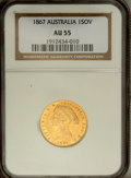 Australia: , Australia: Victoria gold Sovereign 1867, KM4, AU55 NGC, considerable mint luster, one noticeable surface mark by the C of VICTORIA....