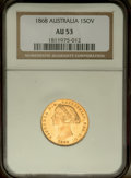 Australia: , Australia: Victoria gold Sovereign 1868, KM4, AU53 NGC, a nicelustrous coin with unusually few contact marks on the obverse....