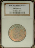 Australia: , Australia: George V Penny 1917-I, KM23, MS64 Brown NGC, a choicecoin with bold details and considerable original mintbrilliance....