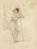 Fine Art - Painting, American:Antique  (Pre 1900), GEORGE HENRY BOUGHTON (American, 1833-1905). Portrait of a YoungMan. Graphite and watercolor on paper. 8-1/2in. x 6-1/2...(Total: 1 Item)