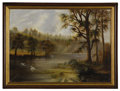 Fine Art - Painting, European:Other , AMERICAN SCHOOL (Twentieth Century). Landscape with Swans.Oil on canvas. ... (Total: 1 Item)
